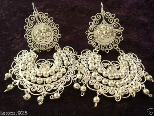TAXCO MEXICAN STERLING SILVER BEADED BEAD FILIGREE EARRINGS MEXICO