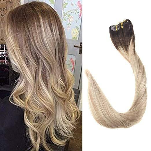 Full Shine Clip In Real Hair Extensions 7pcs Ombre Dark Brown