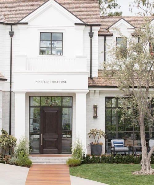 10 White Home Exterior Ideas You Ll Swoon Over Caroline On Design In 2020 White Exterior Houses Exterior Brick White Brick Houses
