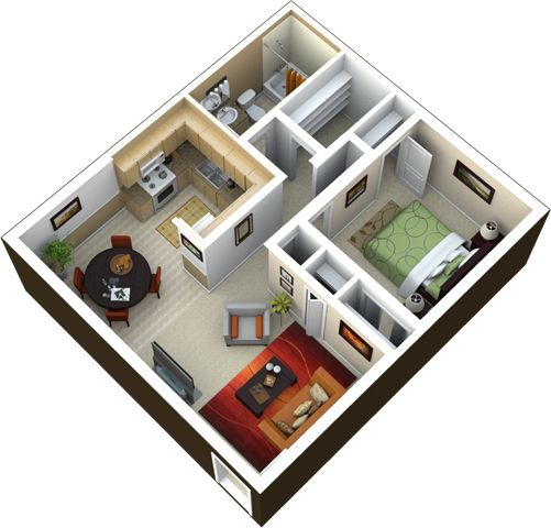 1 bedroom 1 bath 700 sq ft this great floorplan has 4 for Floor plans 700 square foot apartment