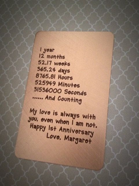 1 Year Anniversary Present Ideas For Him : ... 1st Anniversary Gift,Wallet Insert Card,Mens Anniversary,Gift for Him