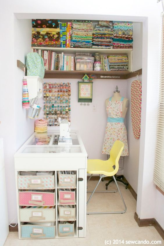 Sew can do making a dream craft room in a small space studios pinterest coins - Creative closet ideas for small spaces gallery ...
