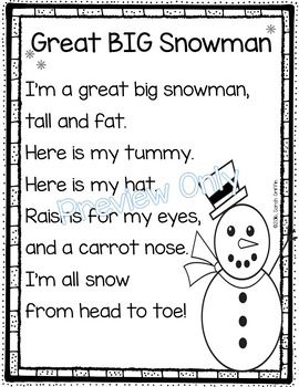 write an acrostic poem about a snowman