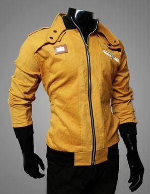 Áo khoác nam phối dây kéo xéo màu vàng ấn tượng-MK485