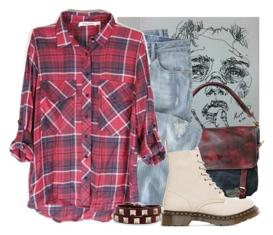 """Untitled #3335"" by jenhoney ❤ liked on Polyvore featuring AmeriLeather, Wrap, Dr. Martens and Valentino"
