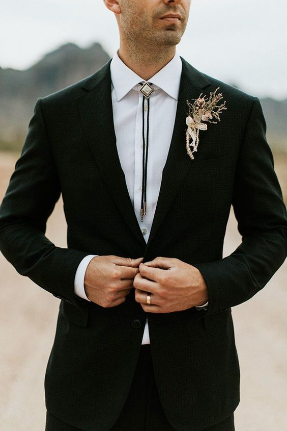 30 The Most Popular Groom Suits ❤  groom suits black jacket with boutonniere dane roy #weddingforward #wedding #bride