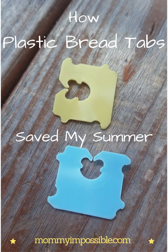 Plastic bread tabs are the perfect solution to fix a broken flip flop!