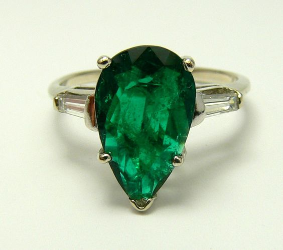 2.70tcw Breathtaking Pear Shaped Colombian Emerald and Diamond Solitaire Ring.  via Etsy.