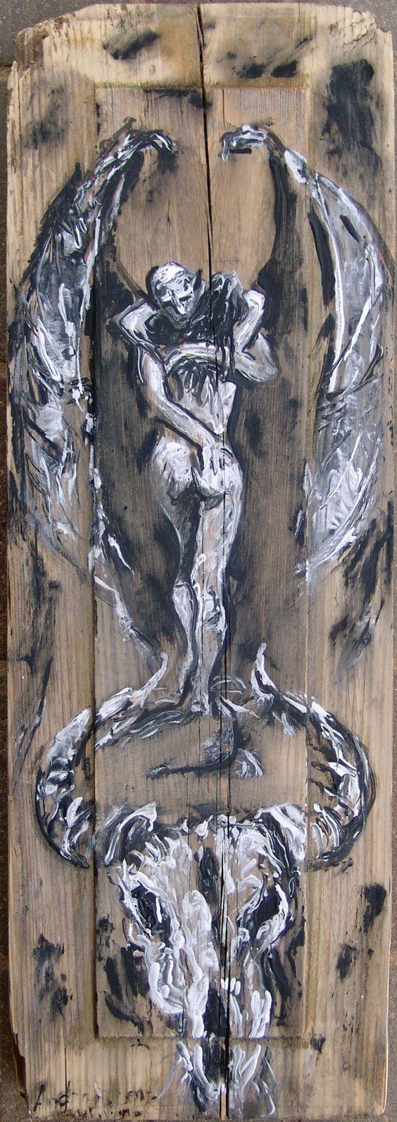 2016.11.10. Love of Vampire. Detail from old door. acrylic/wood desk, 73x24x4 cm https://www.facebook.com/andrey.bovtovich