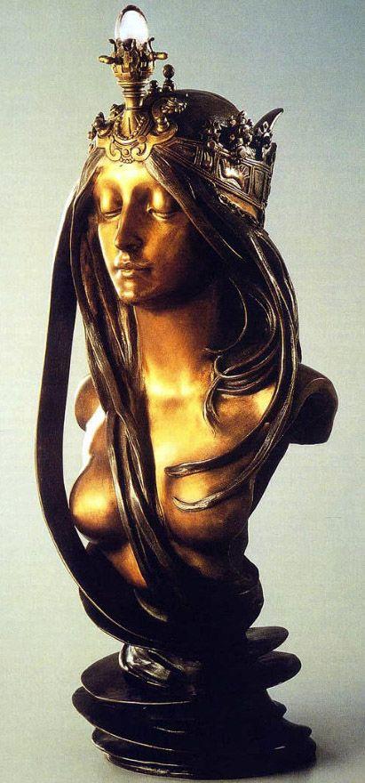 Alfons Mucha - Buste 'La Nature' - Bronze Patiné Doré et Quartz - Vers 1900.