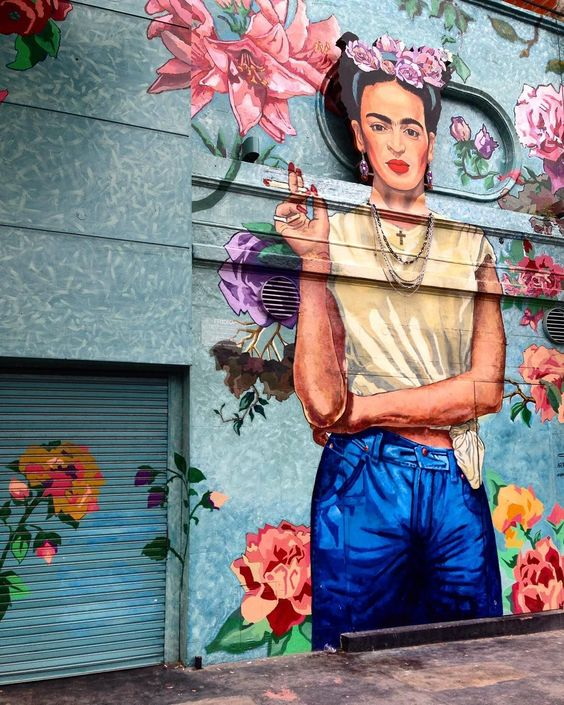 Street art interpretation of a modern Frida Kahlo in Buenos Aires ...