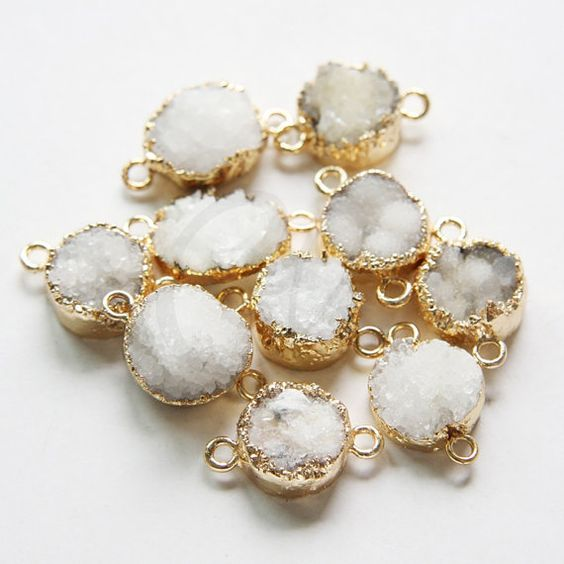 One Piece Natural Hand Cut Raw Brass Framed White Druzy Link (6/1)