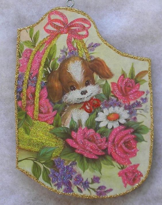 Puppy In Basket Pink Roses Vintage Greeting Card Glittered Christmas Ornament