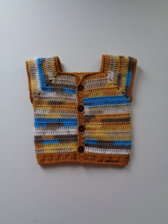 Crochet Boys Vest, Spring Vest, 4 to 5 yrs, Toddler Clothes, Sleeveless Cardigan, Sweater vest, Wool, Brown, yellow, blue, Waistcoat, soft