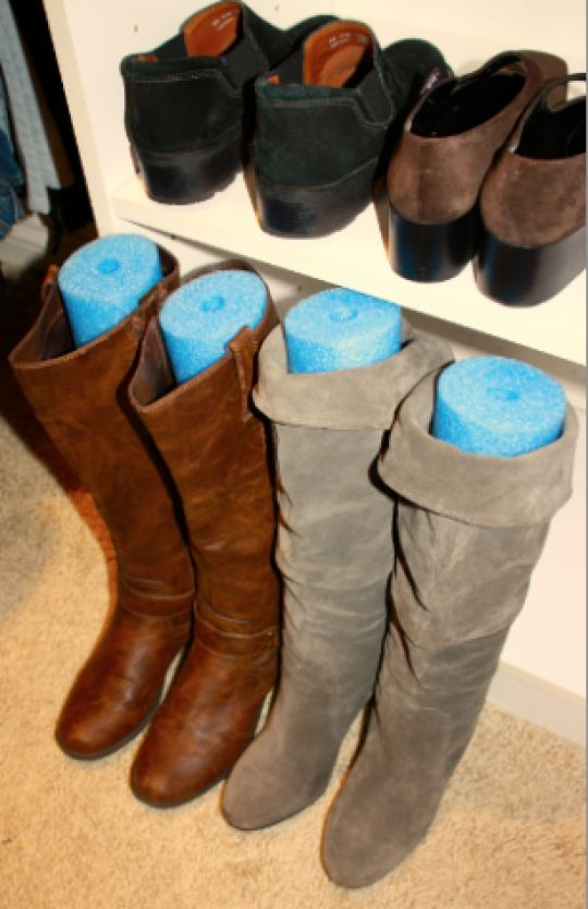 Boot Storage   Organize Your Closet And Help Your Boots Keep Their Shape By  Inserting A Section Of A Pool Noodle Into The Boot. Brilliant Idea!