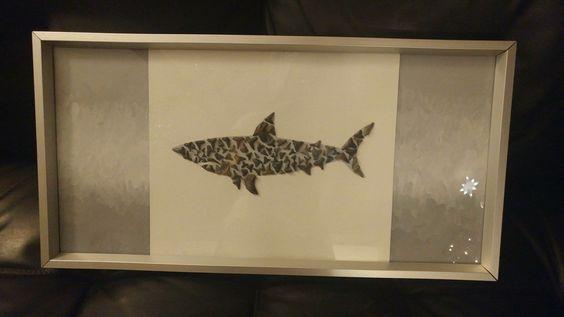 Shark made from shark teeth. Pinterest idea.