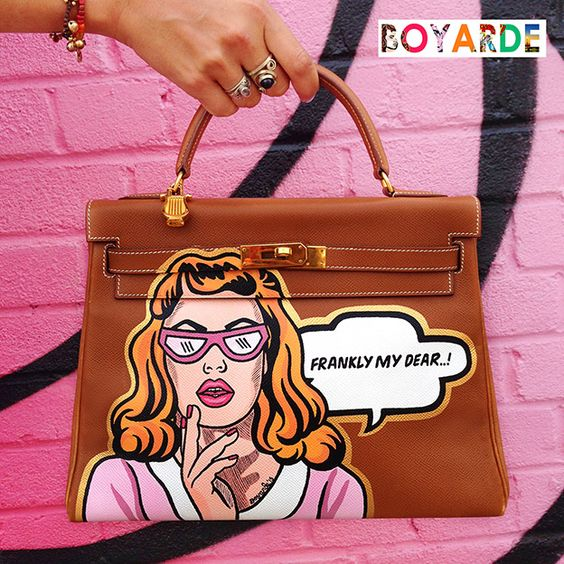 the kelly hermes bag - Hand Painted Pop Art by Boyarde Messenger #LouisVuitton ...