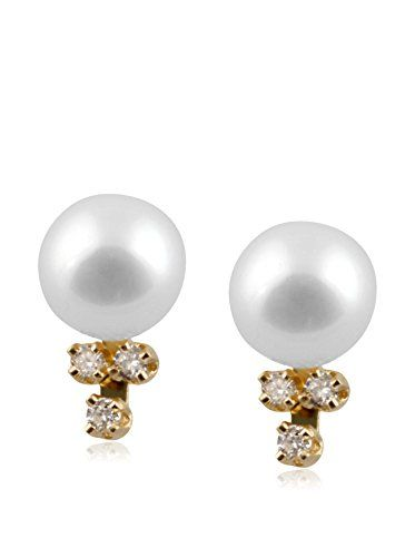 Splendid 6-6.5mm White Freshwater Pearl & Diamond Earrings