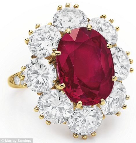 *RED ~ Elizabeth Taylor's Van Cleef & Arpels ruby and diamond ring#she was queen of bling
