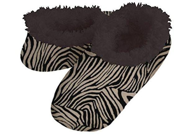Snoozies Animal Print Fleece Lined Womens Footies