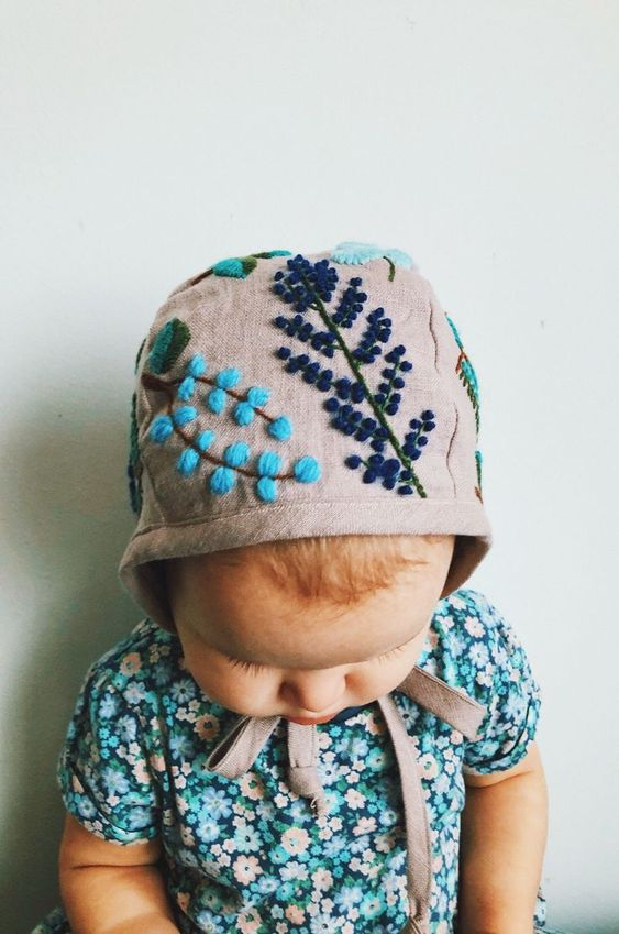 Handmade Organic Linen Embroidered Floral Baby Bonnet   MammaBearBabyBonnets on Etsy