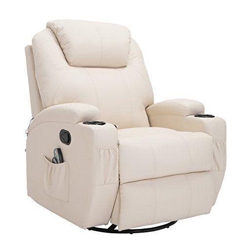 Homcom Fauteuil Canape Sofa Relaxation Massant Chauffant Et Vibrant Inclinable Pivotant A 360 Similicuir 92l X 84l X 109hcm Beig Transat Meuble Chaise Fauteuil