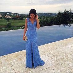Longo em renda azul hortênsia, lindo em todos os detalhes