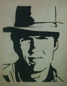 Clint Eastwood scroll saw Fretwork Portrait Cutting