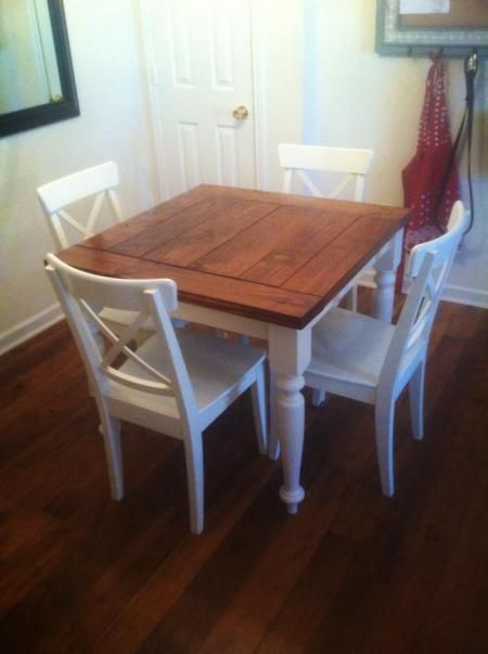 Square Turned Leg Farmhouse Kitchen Table Do It Yourself Home Projects From Ana White Small Kitchen Tables Small Farmhouse Kitchen Square Kitchen Tables