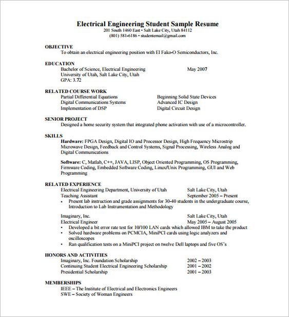 Resume Template for Fresher u2013 10+ Free Word, Excel, PDF Format - control systems engineer sample resume