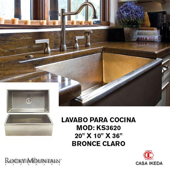 """Lavabo para cocina Mod: KS3620 20"""" x 10"""" x 36"""" Bronce claro Rocky Mountain"""