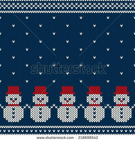 Winter Holiday Seamless Knitted Pattern. Nordic Sweater Design - stock vector: