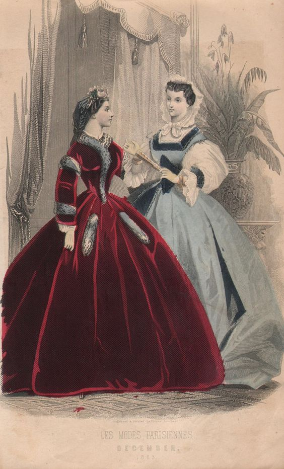 1863 Vintage Victorian Fashion Plate from Les by PastPaperNPostcards,: