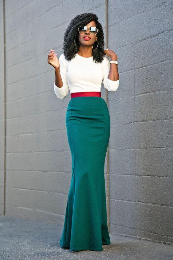 Long Sleeve Tee + Contrast Waist Maxi Skirt