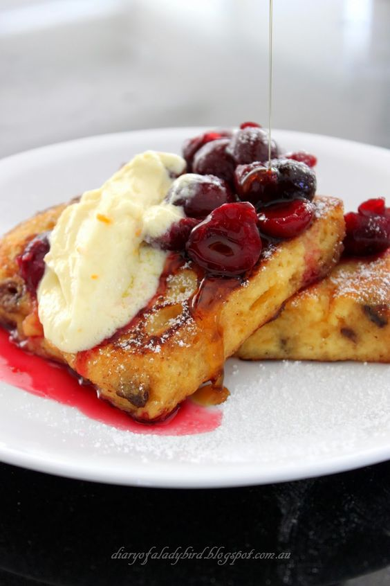 Diary of a Ladybird: Panettone French Toast with Cherry Compote and Brandied Mascarpone