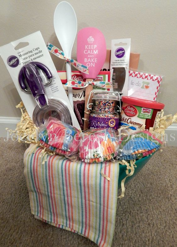 Cupcake Basket by #jocelynbereshdesigns.  Check us out on FB.  Baking Basket.  Luxury Gift Basket.  Custom Gift Basket.  Silent Auction Basket.