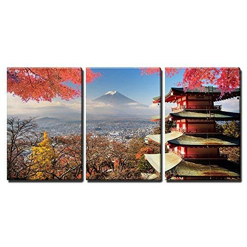 Wall26 3 Piece Canvas Wall Art Mt Fuji With Fall Colors In Japan For Adv Or Others Purpose Use Modern Home Decor St Wall Art Canvas Wall Art Fall Colors