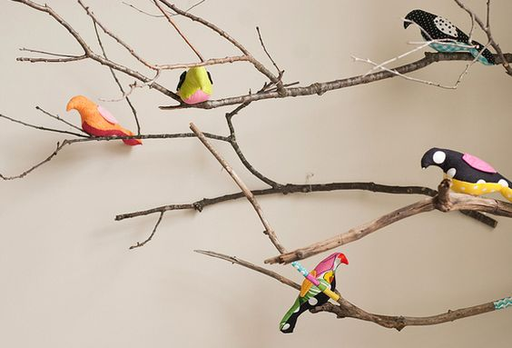 Branches and Fabric Birds Mobile - Get creative with a unique take on a #nursery mobile!