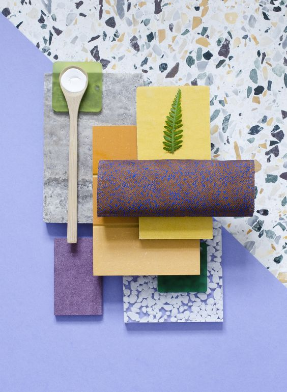 Weekly material mood ~ Travertine & Curry Combo #orange #curry #mdf #innovus @innovus #satinglass #altuglas #ecosense #gloss #sinktal #textiles #kvadrat #terazzo #yellow #purple #colors #paint #wood #material #mood #moodboard #design #architecture #studiodavidthulstrup