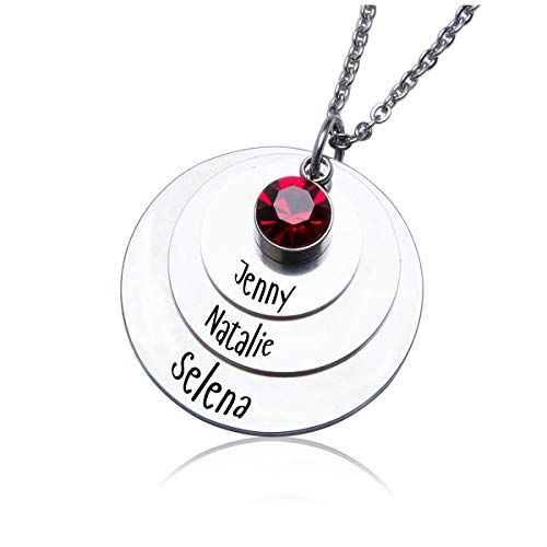 Zoungh Personalized Family Heart Custom Necklace Birthstones Pendant Custom Necklace Made with 7 Names and Any Names