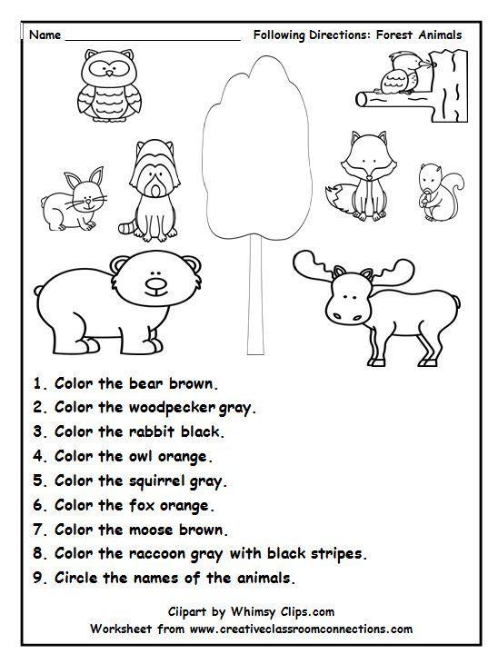 forest <b>animal</b> worksheets <b>animal</b> worksheets preschool forest activities ...