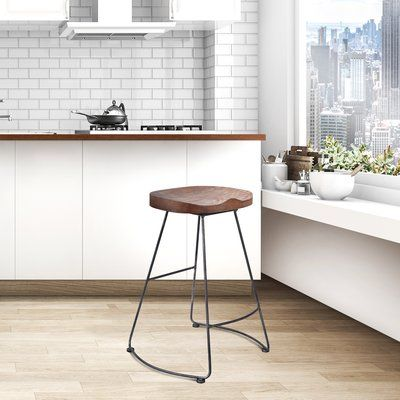 Foundry Select Carbon Industrial Backless Metal Barstool In Silver