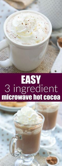 EASIEST EVER 3 Ingredient Microwave Hot Cocoa! No mix needed and refined sugar free! | www.kristineskitchenblog.com
