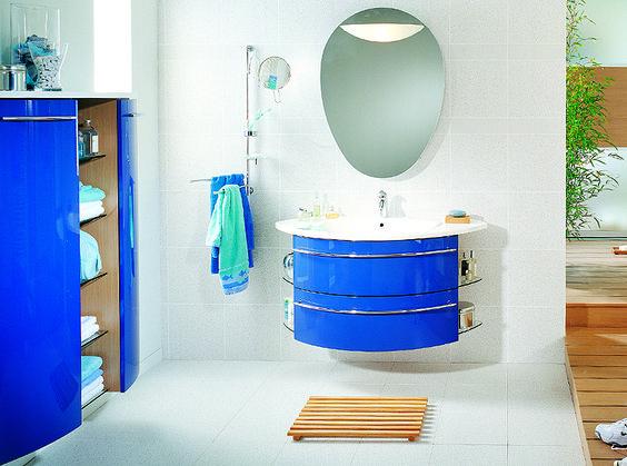 bathroom, Blue Bathroom Vanity Cabinet Design For Modern Bathroom Design Ideas With Washbasin Cabinet And Bathroom Vanity Design With White Bathroom Ceramic Floor Tile Design And White Bathroom Wall Tile Design: The Design Ideas of Bathroom Vanity Cabinet at Modern Style