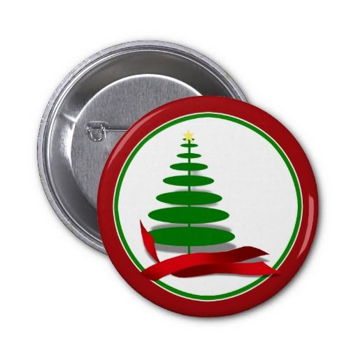sold! Christmas Tree with Red Ribbon Pinback Button by I_Love_Xmas  shipping to Lebanon, OH
