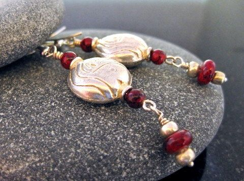 Ruby Earrings Red Silver Fish Beach Nautical by MsBsDesigns, $18.00