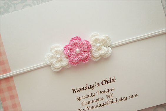 Crochet Flower Headband in Pink and White - Baby Headbands, Newborn Headbands, Baby Girl Headbands. $5.99, via Etsy.