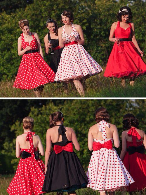 50s Style Bridesmaids Dresses Dear Future Emily Do This Except In Navy Blue And Light Pink Idéias Pra Casamento Pinterest Wedding Weddings