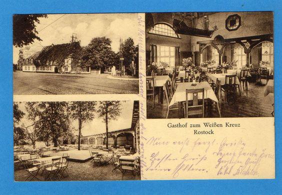 Rostock Gasthof zum Weißen Kreuz 1929 Bes. Max Schlünz