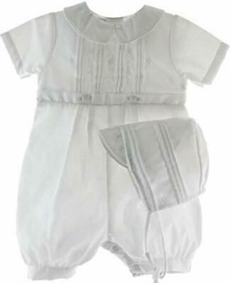 Baby Boys White Satin Romper 2 Pc Hat Christening Baptism Dedication Outfit New